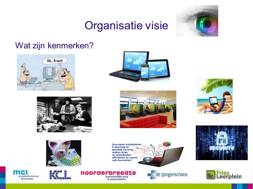 Organisatie visie Wat zijn kenmerken 5 Proeverij 1: