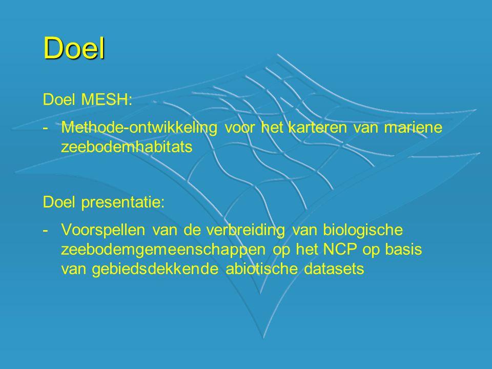 Doel Doel MESH: Methode-ontwikkeling voor het karteren van mariene zeebodemhabitats. Doel presentatie: