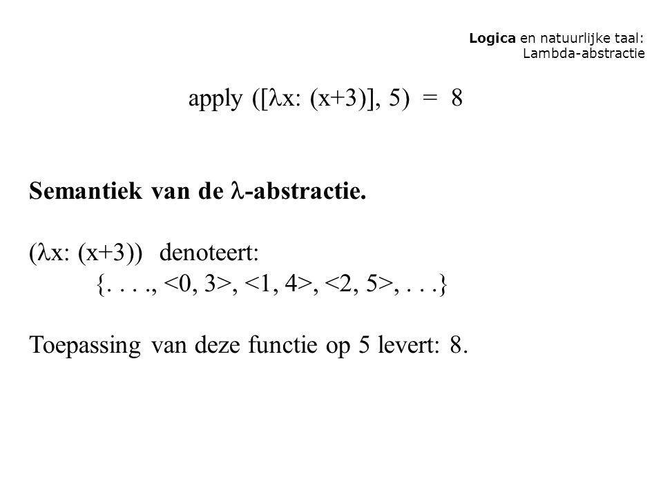 Semantiek van de -abstractie. (x: (x+3)) denoteert: