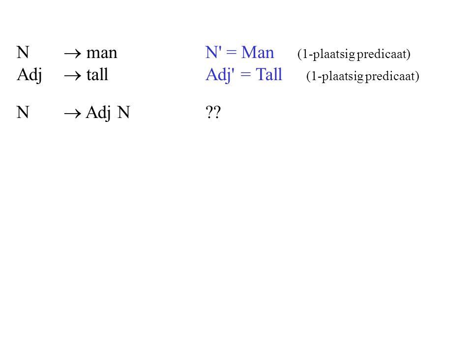 N.  man. N = Man (1-plaatsig predicaat) Adj.  tall