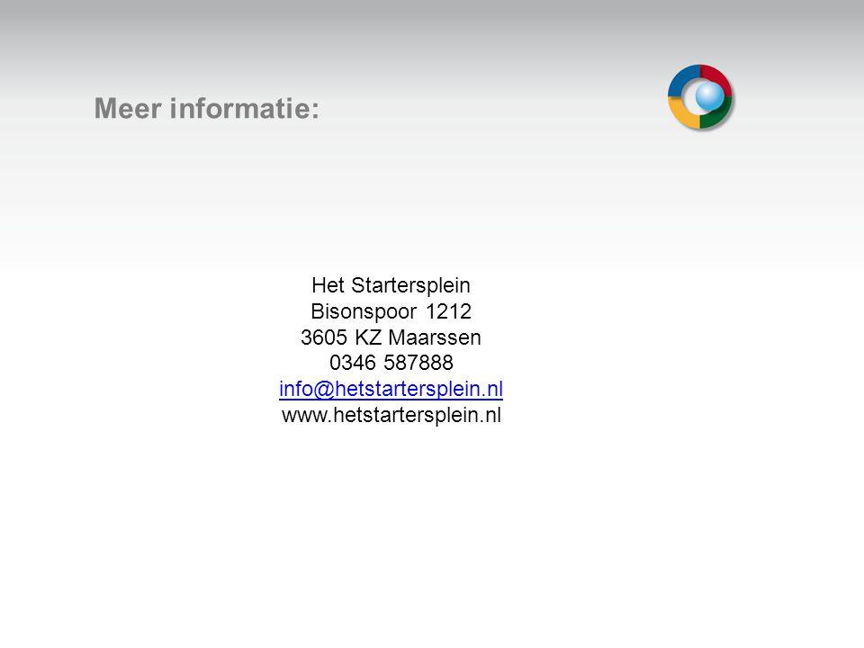 Welkom Meer informatie: Het Startersplein Bisonspoor 1212