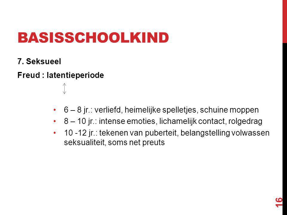 BASISSCHOOLKIND 7. Seksueel Freud : latentieperiode