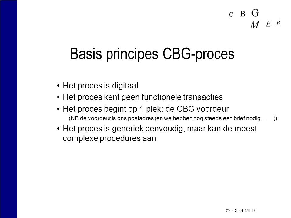 Basis principes CBG-proces