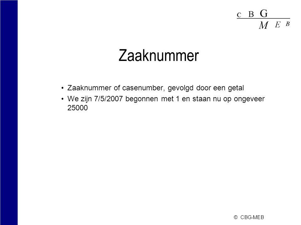 Zaaknummer Zaaknummer of casenumber, gevolgd door een getal