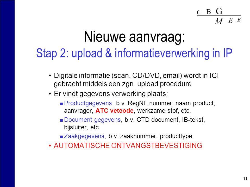 Nieuwe aanvraag: Stap 2: upload & informatieverwerking in IP