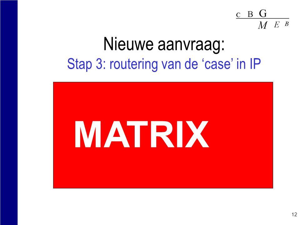 Nieuwe aanvraag: Stap 3: routering van de 'case' in IP