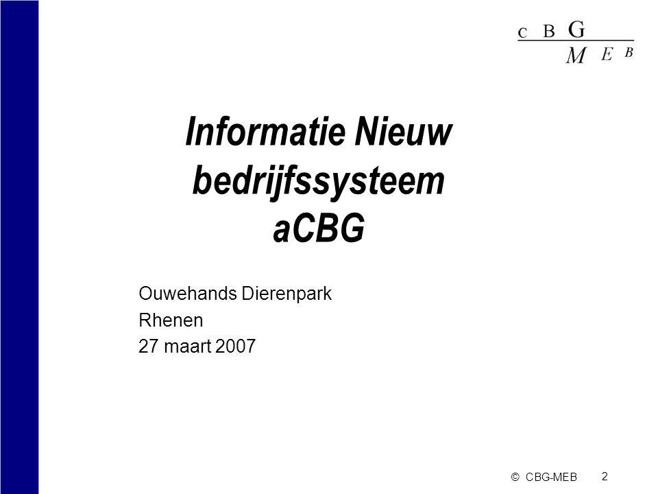 Informatie Nieuw bedrijfssysteem aCBG
