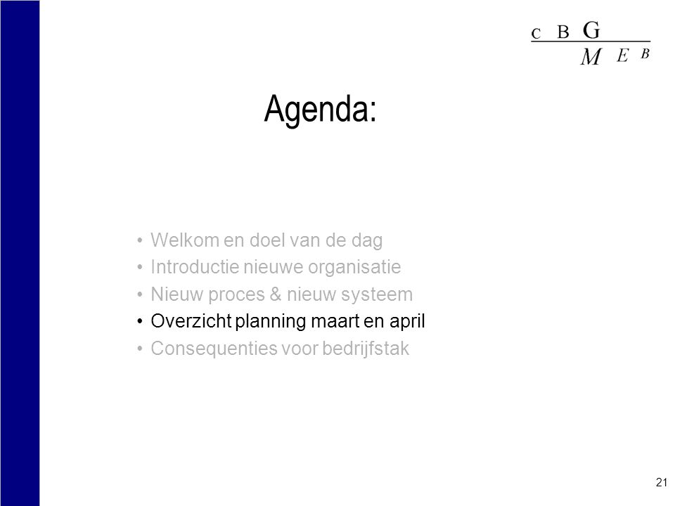 Agenda: Welkom en doel van de dag Introductie nieuwe organisatie