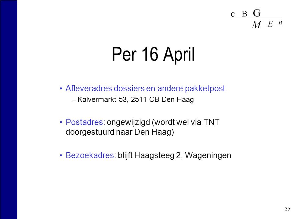 Per 16 April Afleveradres dossiers en andere pakketpost: