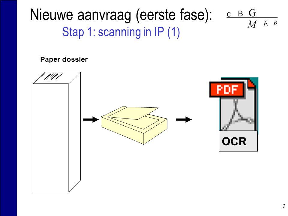 Nieuwe aanvraag (eerste fase): Stap 1: scanning in IP (1)
