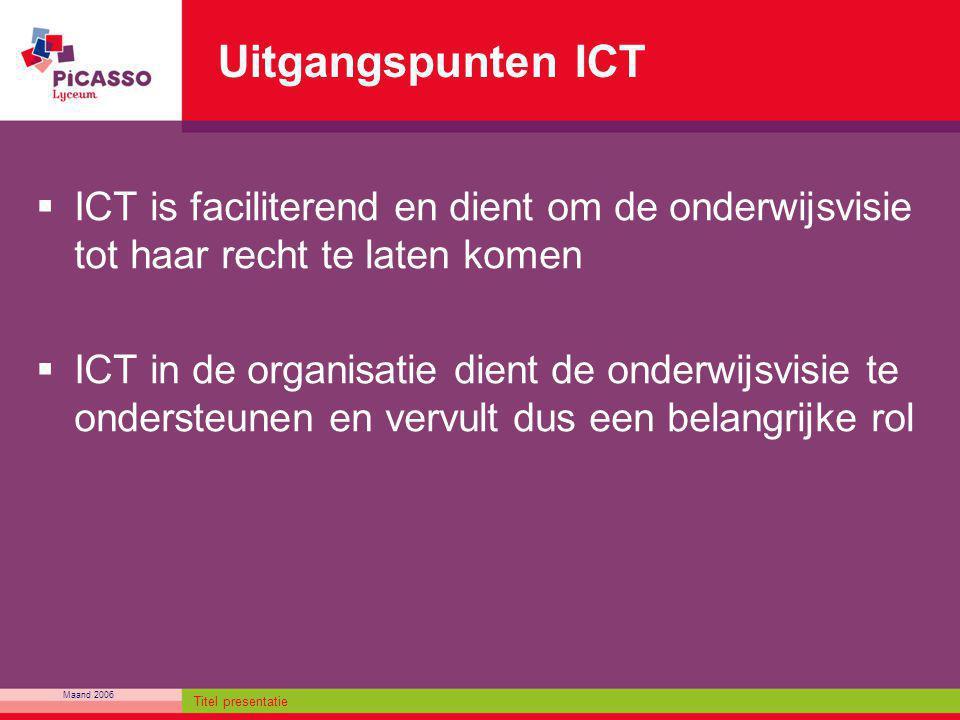 Uitgangspunten ICT ICT is faciliterend en dient om de onderwijsvisie tot haar recht te laten komen.