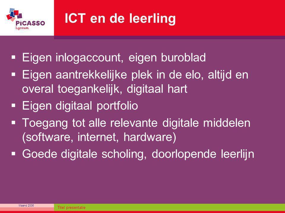 ICT en de leerling Eigen inlogaccount, eigen buroblad