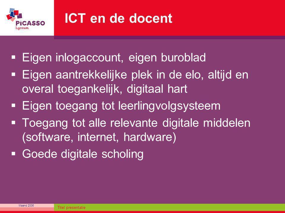 ICT en de docent Eigen inlogaccount, eigen buroblad