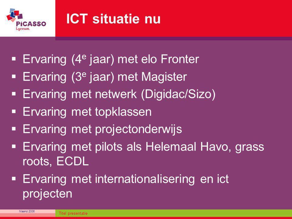 ICT situatie nu Ervaring (4e jaar) met elo Fronter