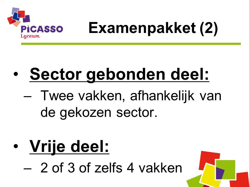 Sector gebonden deel: Vrije deel: Examenpakket (2)