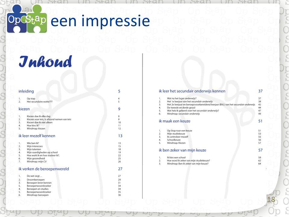 een impressie Een serie dia's die een indruk geven van de vormgeving van het test-werkboekje zoals het in de test-scholen werd gebruikt.