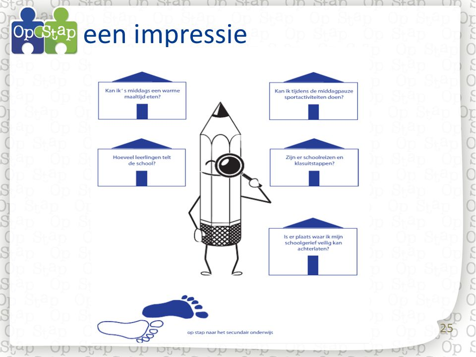 een impressie Een serie dia's die een indruk geven van de vormgeving van het werkboekje: 8.