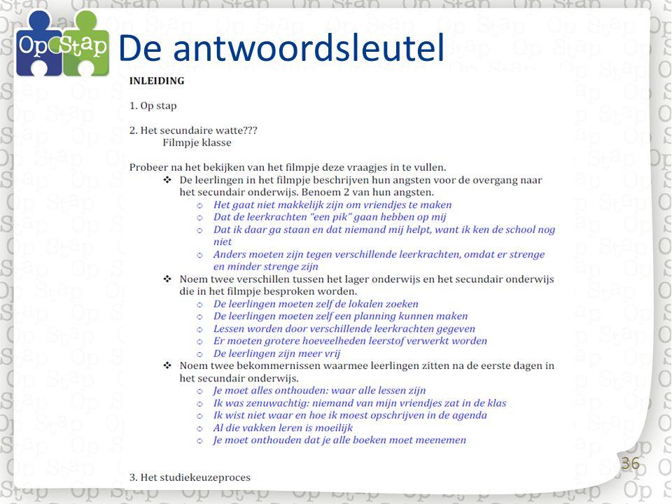 De antwoordsleutel De antwoordsleutel: een ingevuld keuzewerkboekje mee opgenomen in de werkmap voor de leerkracht.