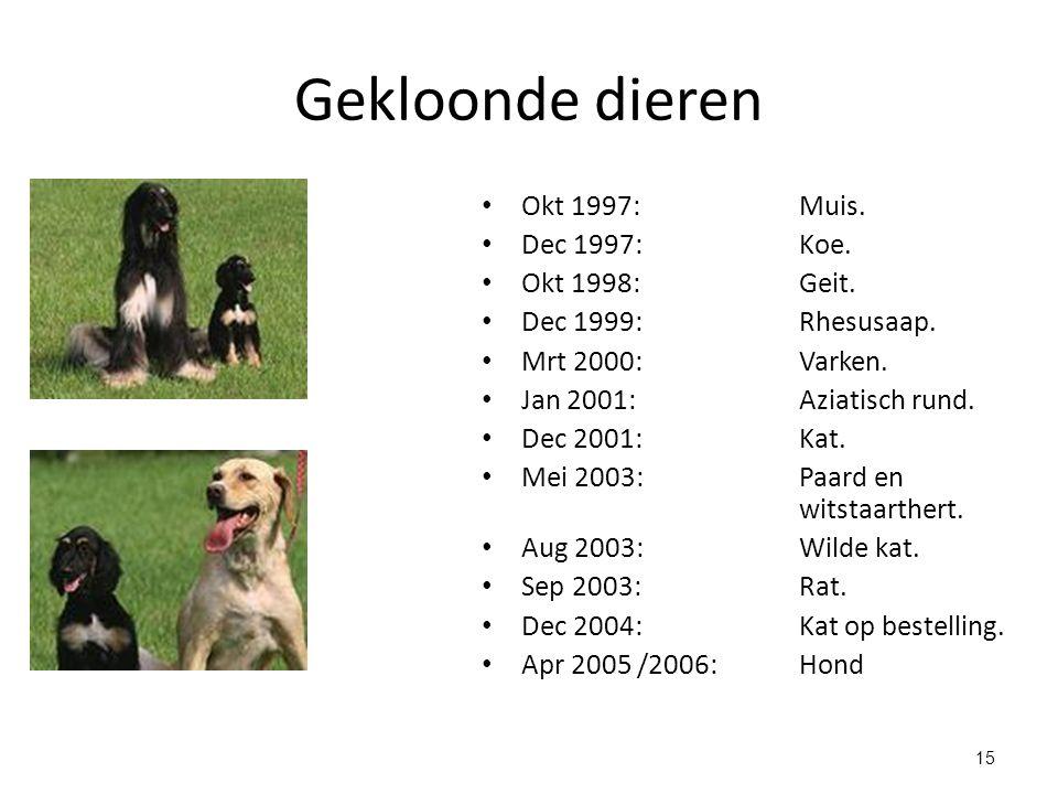 Gekloonde dieren Okt 1997: Muis. Dec 1997: Koe. Okt 1998: Geit.