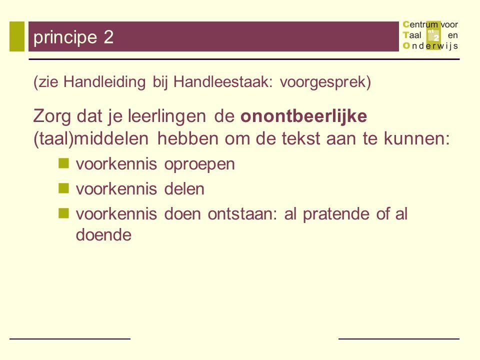 principe 2 (zie Handleiding bij Handleestaak: voorgesprek)