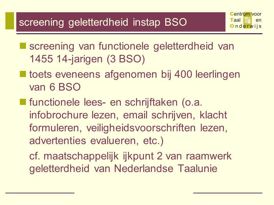 screening geletterdheid instap BSO