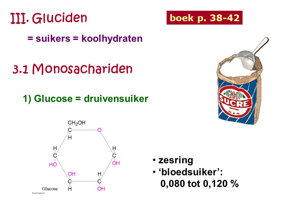 III. Gluciden 3.1 Monosachariden = suikers = koolhydraten