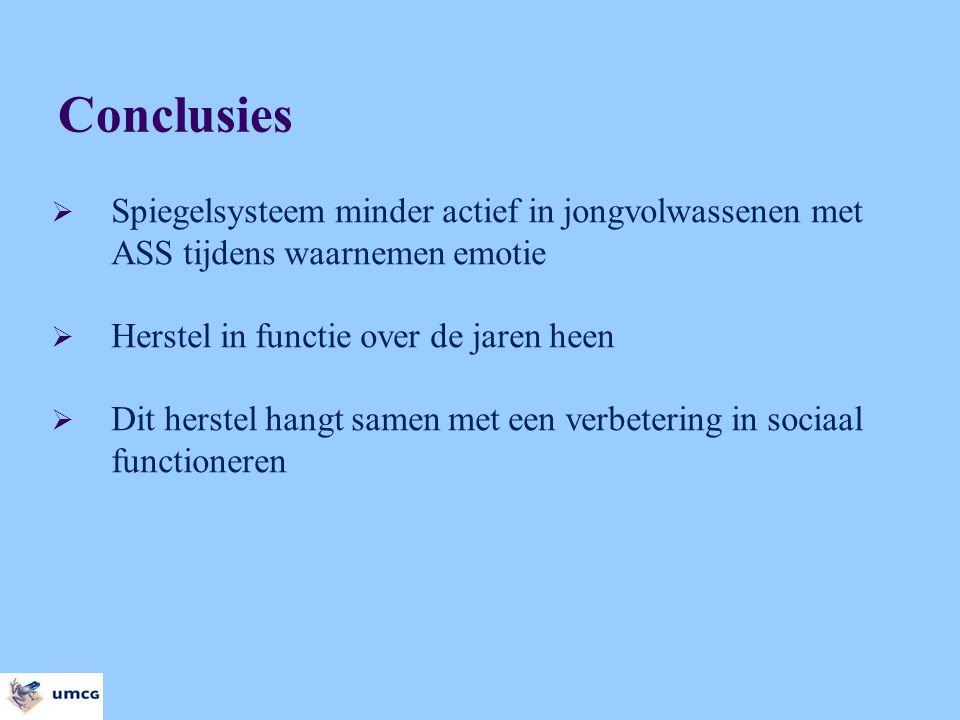 Conclusies Spiegelsysteem minder actief in jongvolwassenen met ASS tijdens waarnemen emotie. Herstel in functie over de jaren heen.