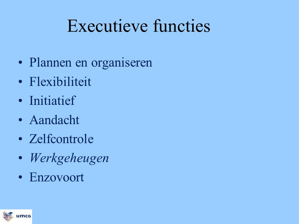 Executieve functies Plannen en organiseren Flexibiliteit Initiatief