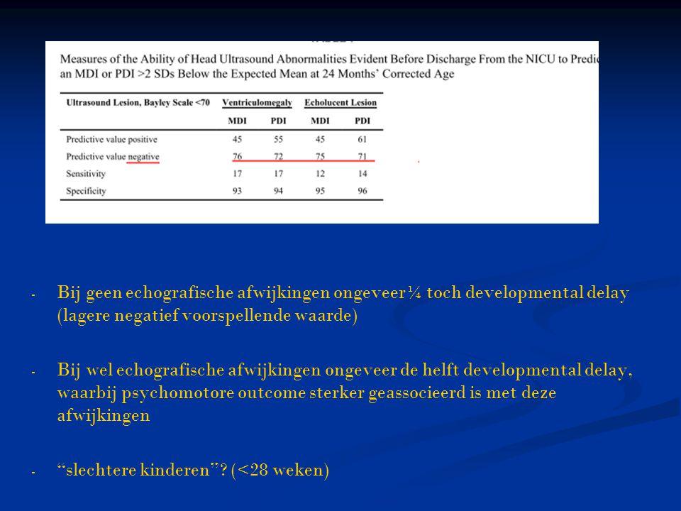 Bij geen echografische afwijkingen ongeveer¼ toch developmental delay (lagere negatief voorspellende waarde)