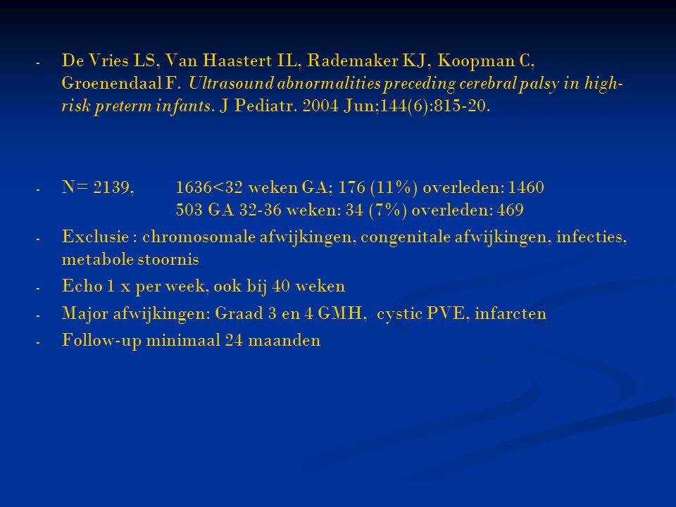 De Vries LS, Van Haastert IL, Rademaker KJ, Koopman C, Groenendaal F