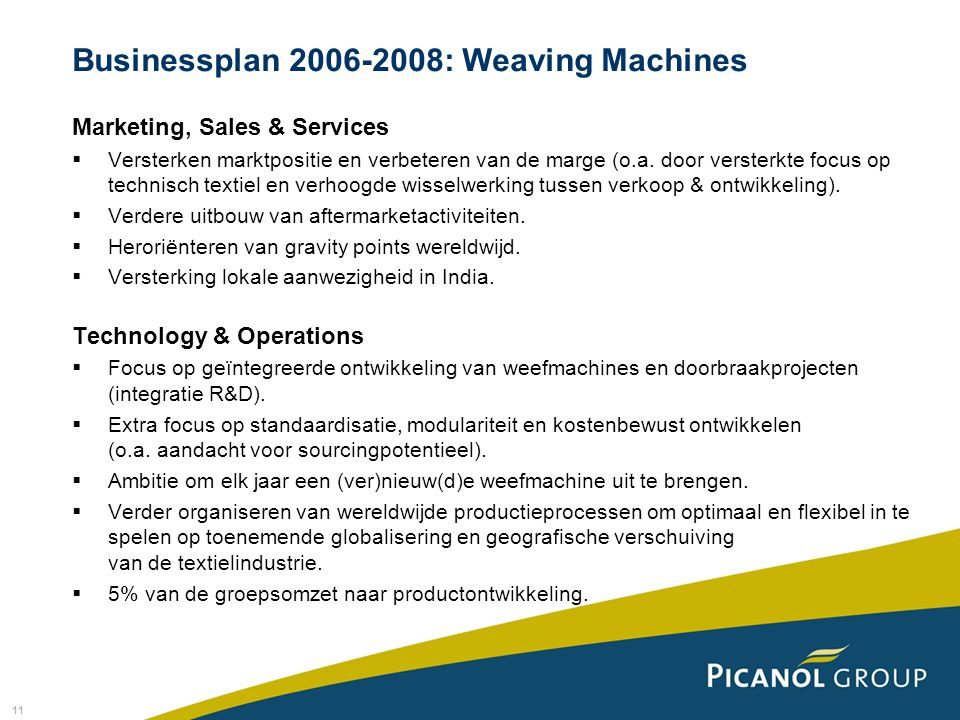 Businessplan 2006-2008: Weaving Machines