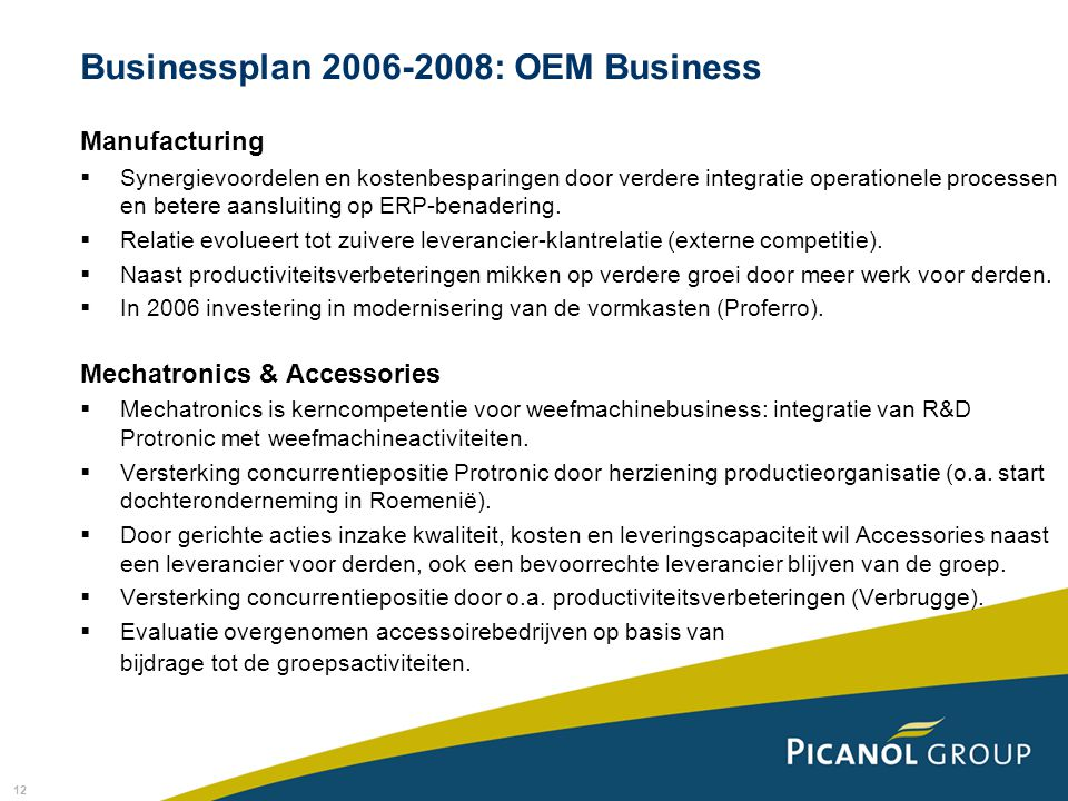 Businessplan 2006-2008: OEM Business