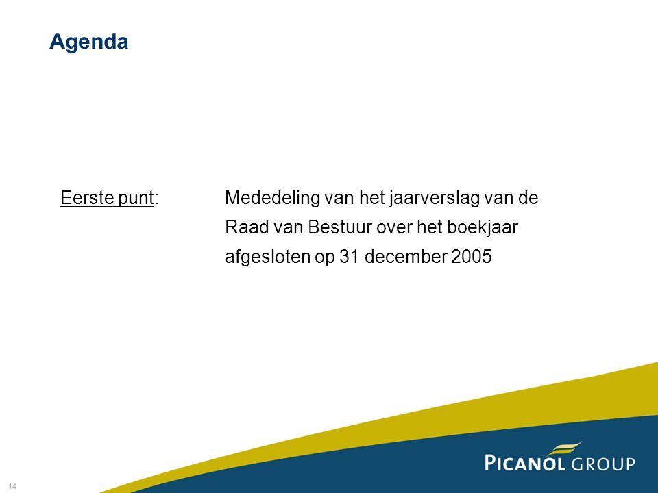 Agenda Eerste punt: Mededeling van het jaarverslag van de Raad van Bestuur over het boekjaar afgesloten op 31 december 2005.