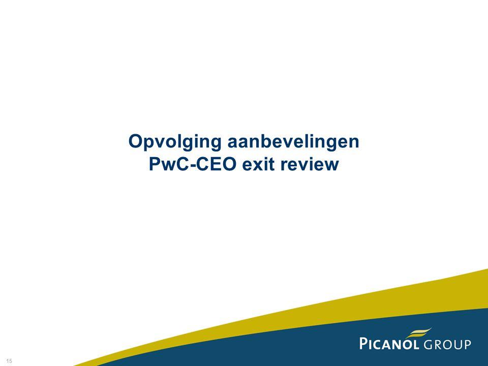 Opvolging aanbevelingen PwC-CEO exit review