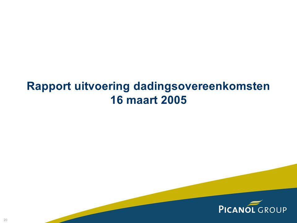 Rapport uitvoering dadingsovereenkomsten 16 maart 2005
