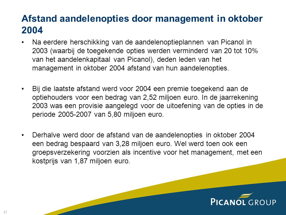 Afstand aandelenopties door management in oktober 2004