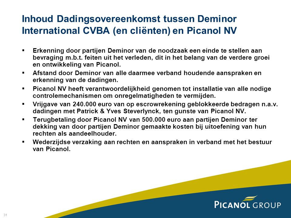 Inhoud Dadingsovereenkomst tussen Deminor International CVBA (en cliënten) en Picanol NV