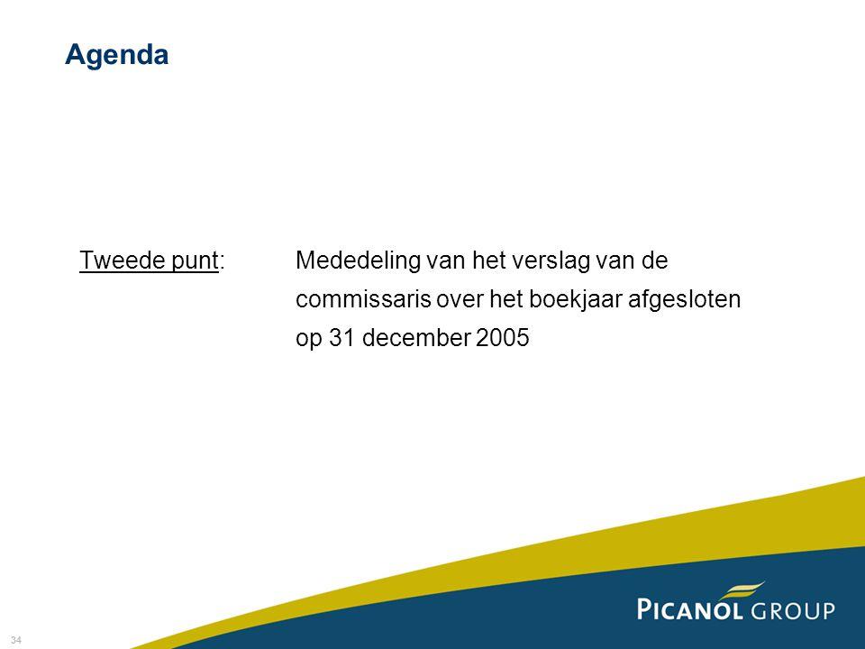 Agenda Tweede punt: Mededeling van het verslag van de commissaris over het boekjaar afgesloten op 31 december 2005.