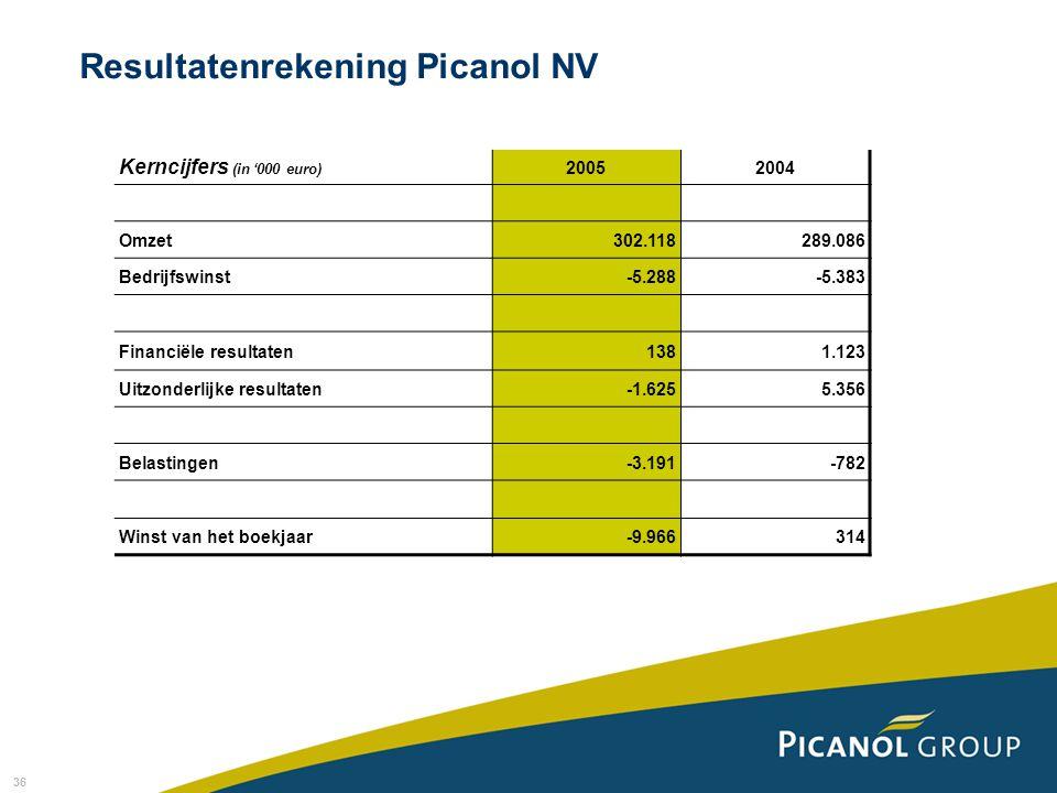 Resultatenrekening Picanol NV