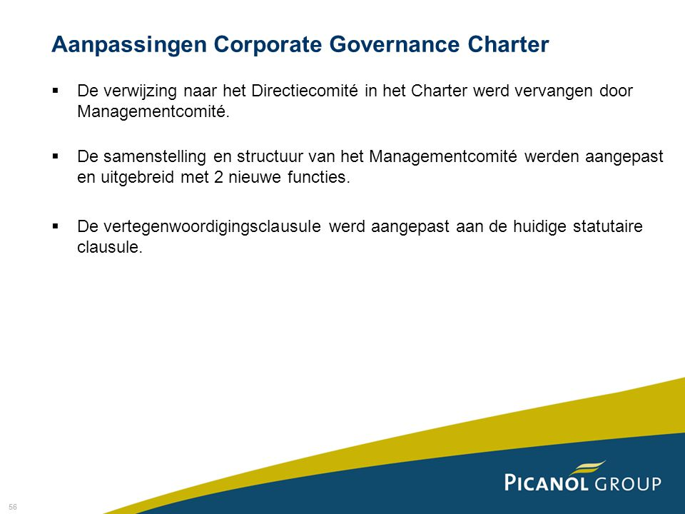Aanpassingen Corporate Governance Charter