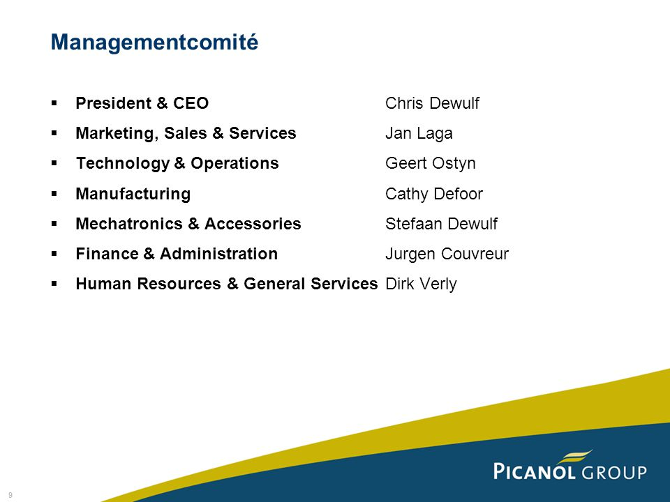 Managementcomité President & CEO Chris Dewulf