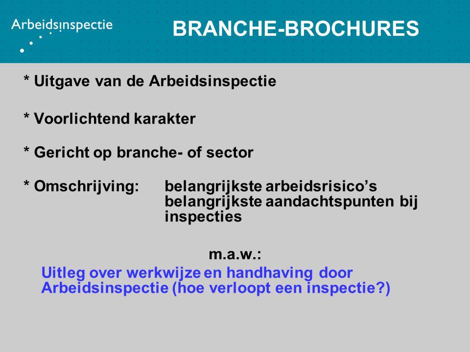 BRANCHE-BROCHURES * Uitgave van de Arbeidsinspectie