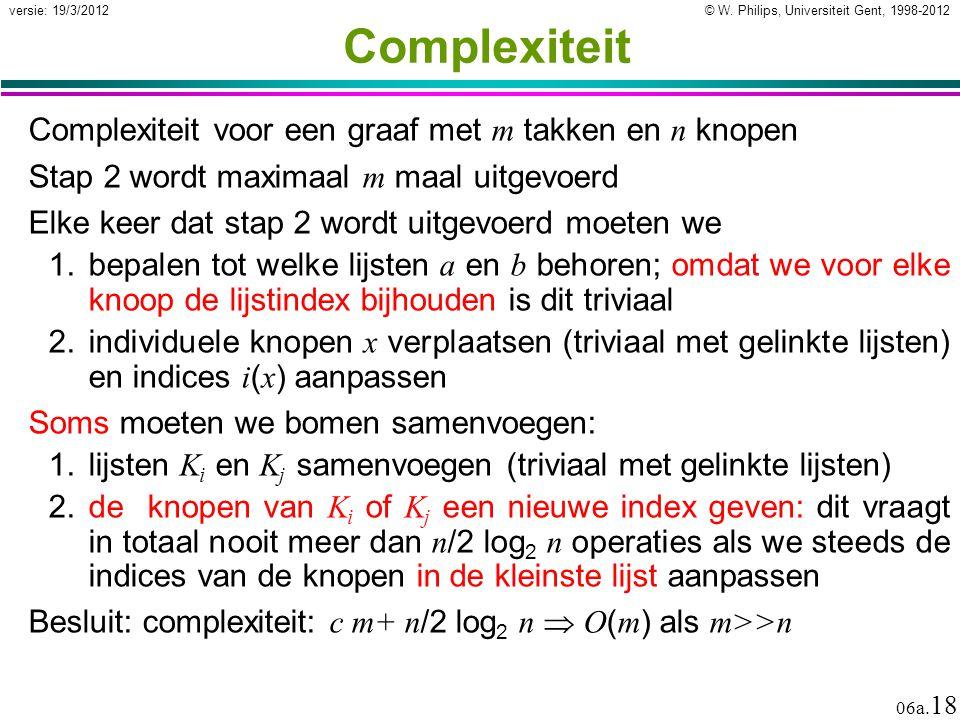 Complexiteit Complexiteit voor een graaf met m takken en n knopen