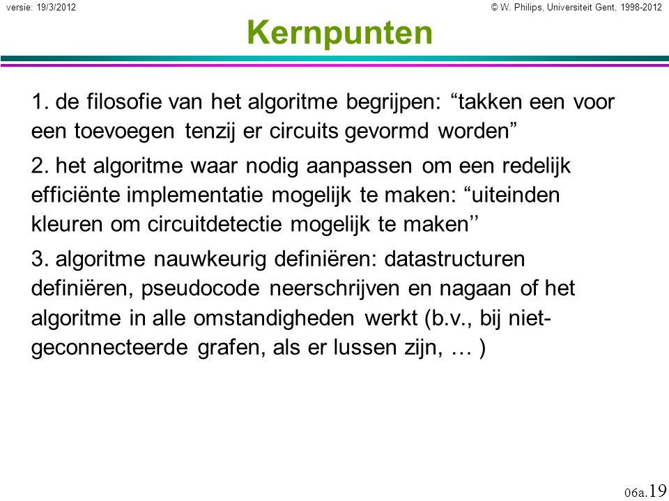 Kernpunten 1. de filosofie van het algoritme begrijpen: takken een voor een toevoegen tenzij er circuits gevormd worden