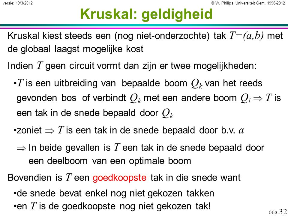 Kruskal: geldigheid Kruskal kiest steeds een (nog niet-onderzochte) tak T=(a,b) met de globaal laagst mogelijke kost.