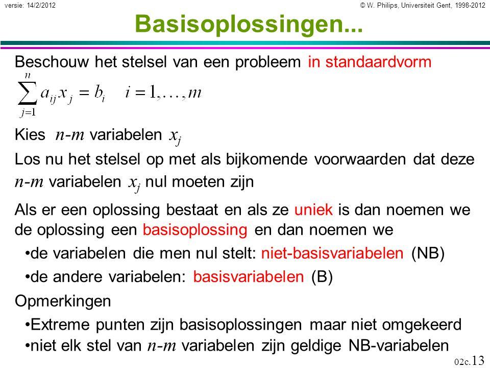 Basisoplossingen... Beschouw het stelsel van een probleem in standaardvorm. Kies n-m variabelen xj.