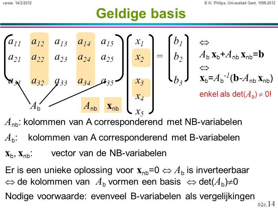 Geldige basis a11 a12 a13 a14 a15 x1 b1 a21 a22 a23 a24 a25 x2 = b2