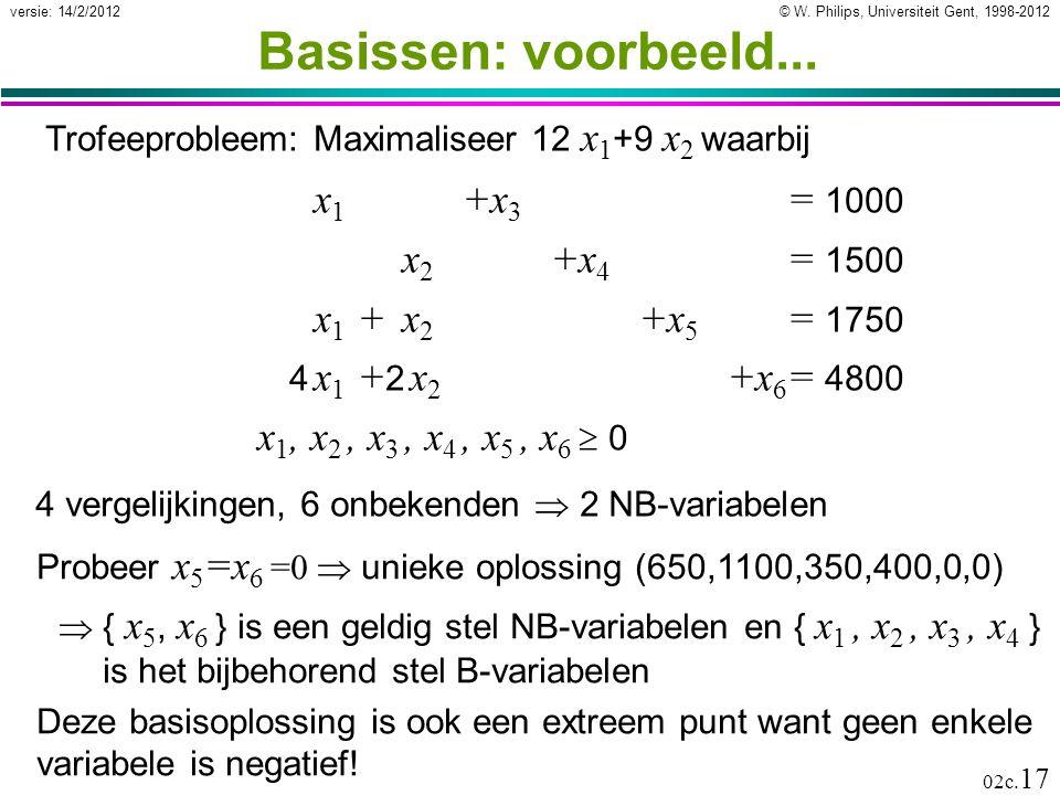 Basissen: voorbeeld... x1 +x3 = 1000 x2 +x4 = 1500 x1 + x2 +x5 = 1750