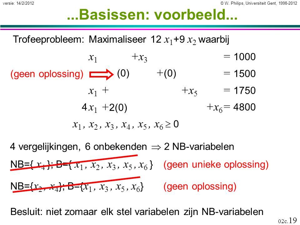 ...Basissen: voorbeeld... x1 +x3 = 1000 x2 +x4 = 1500