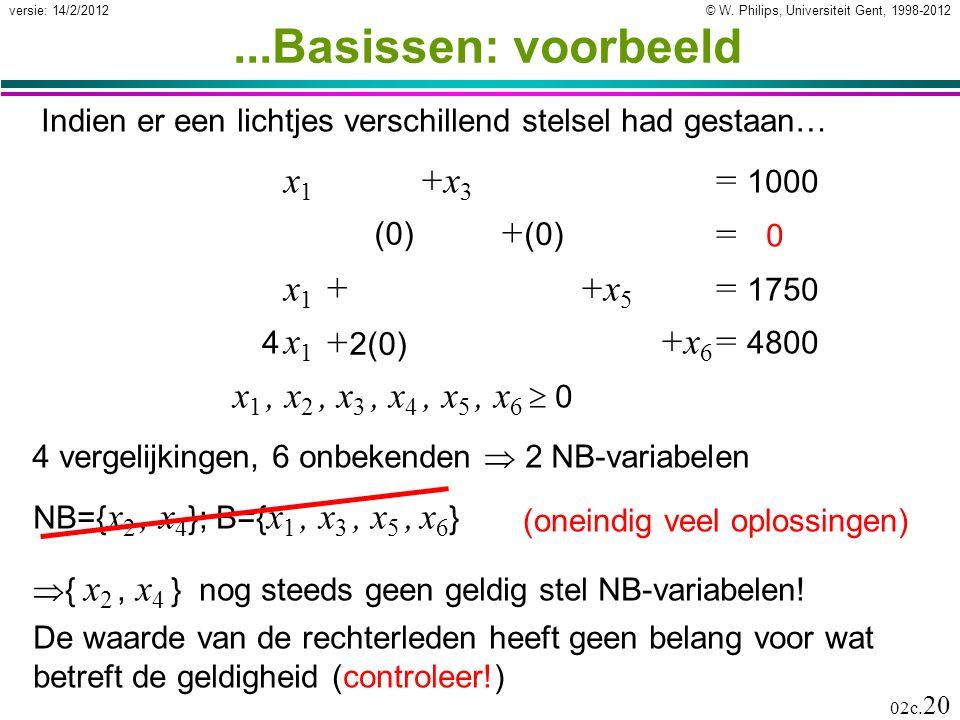 ...Basissen: voorbeeld x1 +x3 = 1000 x2 +x4 = 0 x1 + x2 +x5 = 1750